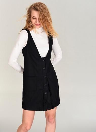 People By Fabrika Önü Düğmeli Elbise Siyah